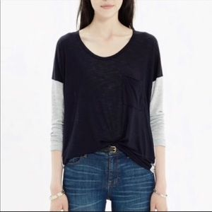 Madewell Scoop Neck Roster Colorblock Long Sleeve
